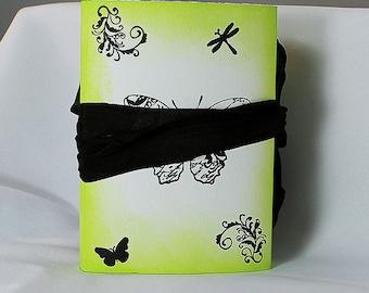 Handmade Green Butterfly Travel Journal - Art Journal - Green Journal - Butterfly Journal - Mixed Media Journal - Travel Journal - 3-030