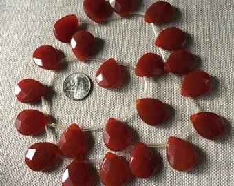 22 pcs, 15x20mm Carnelian Large Faceted Flat Pear Briolette Beads, top-drilled
