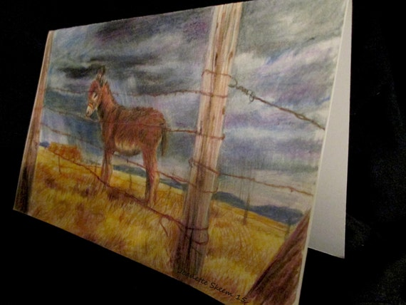 Desert Donkey and barbwire fence colored pencil card print