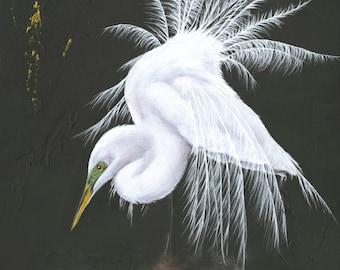 Egret in Gold