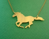 Gold Plated Horse Pendant Necklace / Horse Jewelry / Delicate Necklace / Wedding / Golden Horse / Horse Charm Necklace / Horse Lover Gift