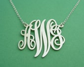 Monogram Necklace / Vine Shaped / Monogram / Graduation Gifts / Monogrammed Necklace/ Silver Monogram / Vine Monogram Necklace / Gifts
