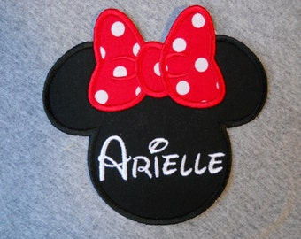 Made to order ~ Personalized  Miss Mouse (red) iron on or sew on applique patch