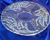 """Vintage Silver Overlay Caprice Cambridge Glassware 13.5"""" Platter, Silver City Lily of the Valley Overlay, Home & Living, Kitchen and Dining"""