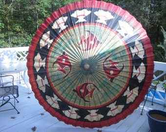 Very Large Chinese Parasol with a bamboo handle
