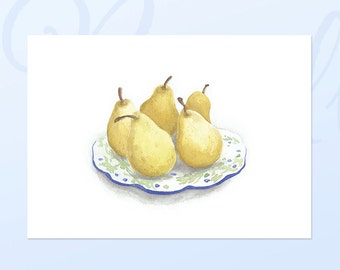 Pears Giclee Reproduction, Pears Illustration, Pears, Watercolour Reproduction, Watercolour, Still Life, Yellow Pears