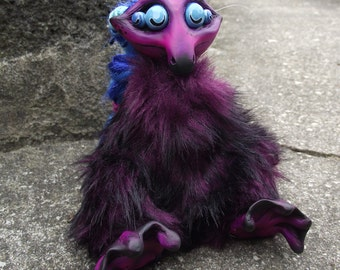 Amylyx the Soothsayer Purple Monster Art Doll Handmade Hand Crafted OOAk Sculpture