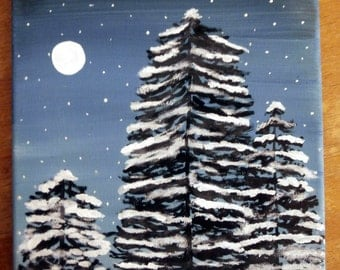 Snowy Pines, handmade, hand painted, snow on trees, winter scene, moon scene, snowy trees, Christmas tree,