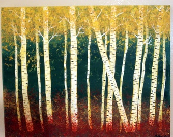 Forest of Birches, acrylic painting, handmade, birch forest,