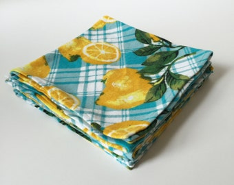 Lovely Lemon Flannel Napkins (set of 4)