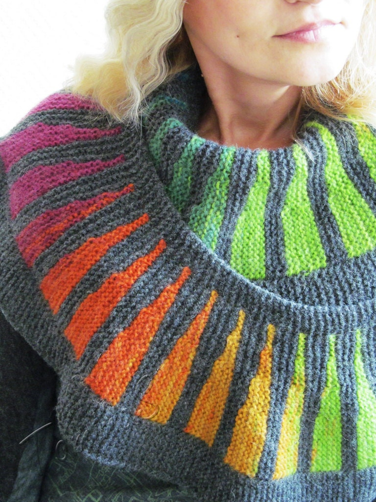 knit wool scarf colorful handmade scarf warm by tominasname