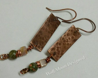 Hammered Antiqued Copper Boho Earrings with Gemstones