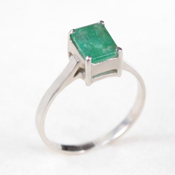 simple genuine emerald ring by clenot on etsy
