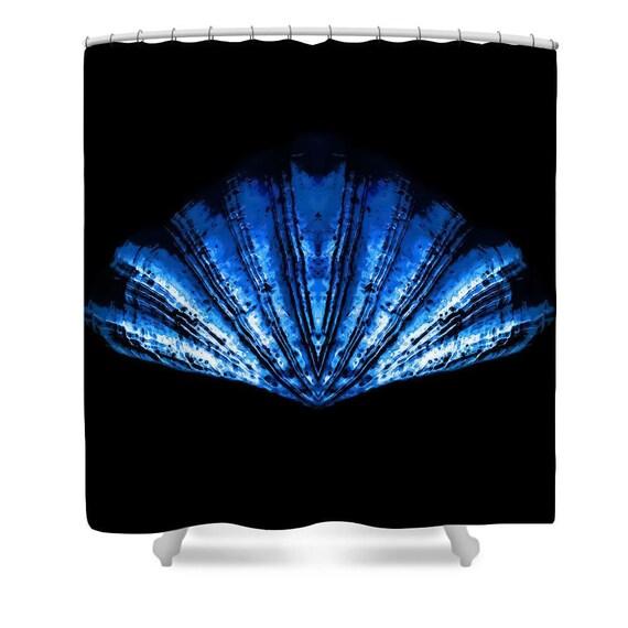 Unique Shower Curtain,Black,Blue, Seashell,Bathroom Curtain, Beach ...