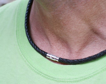 Mens Leather Necklace, Locking Magnetic Clasp, Man Necklace, Mens Jewelry, Man Leather Necklace, Mens Gift, Bolo Cord Necklace for Men