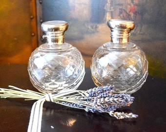 A Pair of Antique English Cut Crystal & Sterling Silver Perfume Bottles c. 1800's