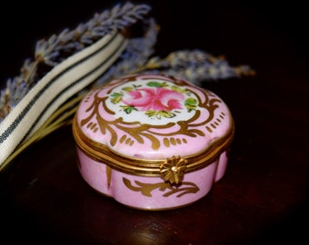 Vintage Pink and Gold Floral French Limoges Box   Sku: L135