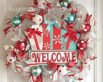 Christmas Wreath - Christmas Welcome Wreath - Christmas Present Wreath - Christmas Mesh Wreath - Holiday Wreath