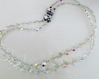 Vintage 1950's two tone crystal necklace - Excellent condition