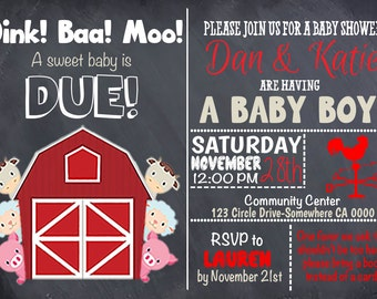 Barnyard Baby Shower Invitation