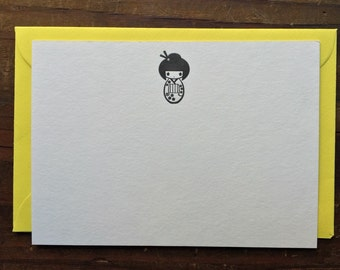 Letterpress asian doll card with bright yellow envelope