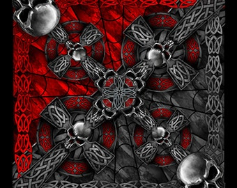 "BANDANA - Bandanna. Cotton Polyester Blend Bandana. Celtic Cross and Skulls. Black, Red, and Silver. 21"" x 21"" hl"