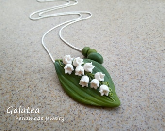 925 silver Bridal necklace lily of the valley Bridesmaid floral jewelry lily of the valley rustic wedding white flowers necklace for her