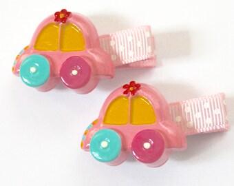 Pair Pink Car Hair Clips