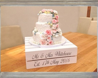 Personalised Apple-crate style shabby chic wooden Wedding Cake stand