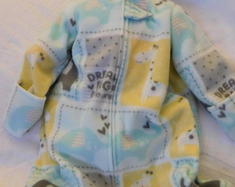 BABY SLEEP SACK - Fleece, lt aqua, gray, yellow with mittens, S,M,L or xL