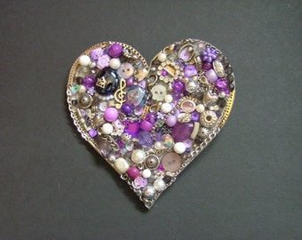 Purple and Silver Heart, Jewellery Collage, Handmade Gift
