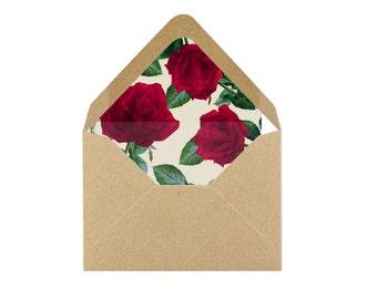 Printable Red Roses Envelope Liner/Patterned Backer 8.5 x 11 - INSTANT DOWNLOAD