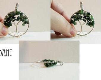 Moss Agate Tree of Life Pendant
