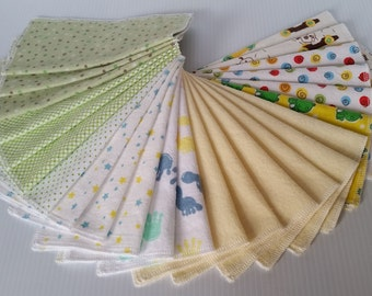 Washable Cotton Flannel Baby Wipes, Neutral Colors-Ready to Ship