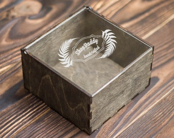 Wooden box + Laser engraving (addition to your order), makes your wallet ready for given as a gift.