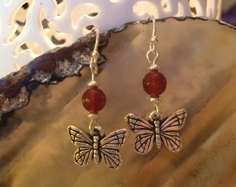 Adorable silver butterfly and cornelian earrings