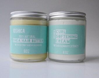 Natural Hair Care Set- Coconut Brazilian Mango Shea Hair Butter & Rosemary Lime Curl Softening Cream- Vegan- Natural Hair Care- Kinky-Curly