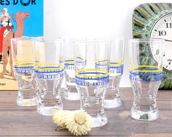 6 glasses Pernod Anisette Bistro Vintage - Six French Glasses Bistro Vintage Pernod Anisette