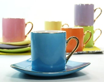 Multicolored coffee saucers 1950s Vintage cups