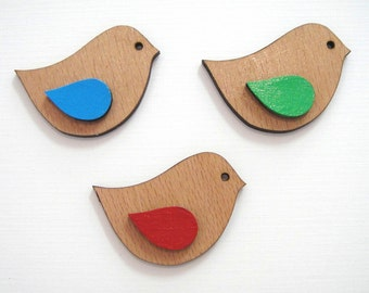 Hand Painted Bird Brooches