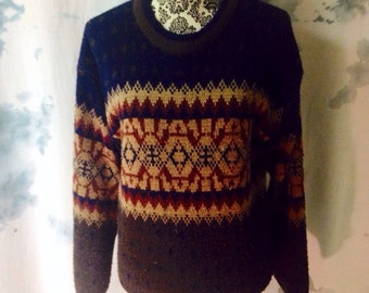 Vintage 90s Small Nordic Knit Sweater
