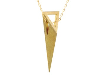 Pyramid Necklace, 3D Necklace, 18K Gold Necklace, 14K Solid Gold Necklace, Gold Triangle Necklace, Gold Minimalist Necklace, Edgy Necklace