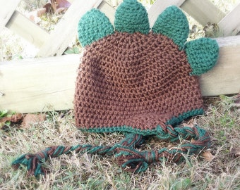 Crochet Dinosaur Beanie Hat Cap with Ear Flaps in Brown and Green Newborn, Infant, Toddler and Child Sizes Fall Winter Warm