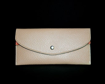Womens Wallet, Leather Wallet, Apricot Wallet, Apricot Purse, Apricot Leather Purse, Apricot Leather Wallet.