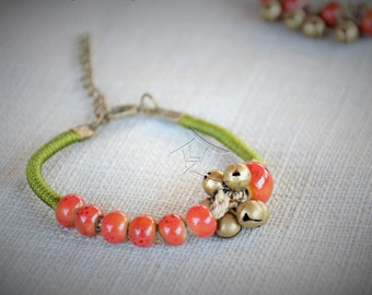 Ceramic bead and bell bracelet