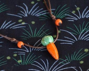 Hand painted ceramic carrot necklace - Children's Boho Easter gift!  Carrot charm