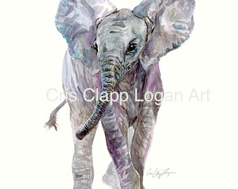 Baby Elephant Original Fine Art Watercolor Safari Art Nursery Original Art Cris Clapp Logan Art