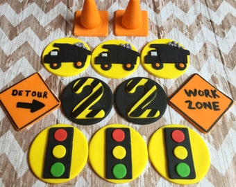 12 Fondant construction theme cupcake toppers.