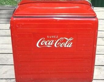 """vintage 1950's coca cola cooler french slogan """"buvez coca-cola"""" Drink coca cola in perfect condition..Advise to all the coca cola collectors"""