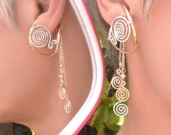 Gold & Silver unpierced earrings, non-pierced earrings, mixed metal ear cuff, ear wrap, clip on earring, comfortable earring, Illuzio,dangle